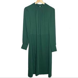 H&M Long Sleeve Green Two Tone Midi Dress